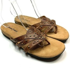 Minnetonka 9 Leather Sandals Laser Cut Flip Flop